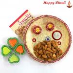 Almonds Thali - Almonds 200 gms, Puja Thali (W) with 4 Diyas and Laxmi-Ganesha Coin