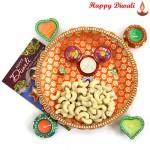 Cashew Thali - Cashew 200 gms, Puja Thali (O) with 4 Diyas and Laxmi-Ganesha Coin