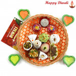 Orange Mix - Kaju Mix 250 gms, Puja Thali (O) with 4 Diyas and Laxmi-Ganesha Coin