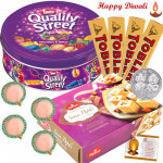 Incredible Gift - Nestle Quality Street, Haldiram Soan Papdi 500 gms, 4 Toblerone with 4 Diyas and Laxmi-Ganesha Coin
