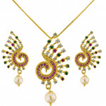 Trendy Peacock Pendant Set