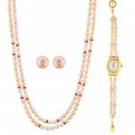 Pink Pearl Necklace Set With Watch