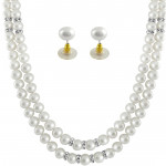 White 2 Line Pearl Necklace