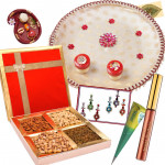 Just for Her - Puja Thali (W), Assorted Dryfruits, Bindi Packet, Lakme Jewel Sindoor, Mehndi Cone, Roli Chawal and Card