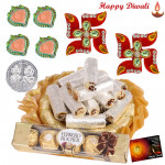 Kaju Anjir Roll Thali - Kaju Anjir Roll 250 gms, Ferrero Rocher 4 pcs, Decorative Thali, Auspicious Swastika with 4 Diyas and Laxmi-Ganesha Coin