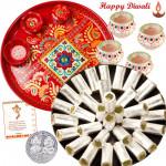 Kaju Rolls Thali - Kaju Pista Roll 250 gms, Meenakari thali 6 inch with 4 Diyas and Laxmi-Ganesha Coin