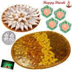 Healthy Combo - Assorted Dryfruits 200 gms Basket, Kaju Katli 250 gms with 4 Diyas and Laxmi-Ganesha Coin
