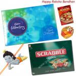Kids Combo - Scrabble + Celebration + 1 Reclining Krishna Rakhi + Card