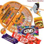 Kids Sweet Gifts- Skykids Coloring Kit 56 pcs, 3 Kitkat , 1 Gems, 2 Dairy Milk, 1 Reclining Krishna Rakhi and Card