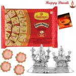 Laxmi-Ganesha Hamper - Silver Laxmi Ganesh Idol 20gms, Haldiram Soan Papdi with 4 Diyas