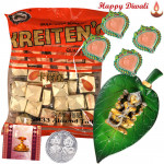 Laxmi Puja Hamper - Laxmiji on Leaf, Kreitens with 4 Diyas and Laxmi-Ganesha Coin