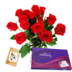 Love All Around - 12 Red Roses in Vase + Cadbury Celebration 128 gms + Card