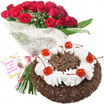 Amazing Combo - 12 Red Roses + Black Forest Cake 1/2 kg + Card