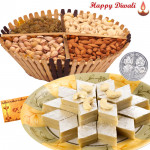 Loved By All - Kaju Katli 250 gms, Assorted Dry fruits 200 gms basket with Laxmi-Ganesha Coin