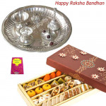 Lovely Sister - Silver Plated Puja Thali + Kaju mix 250 gms