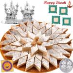 Lovely Tradition - Kaju Katli 500 gms, Silver Laxmi Ganesh 20 gms with 4 Diyas and Laxmi-Ganesha Coin
