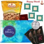 Lovely Treat - Cadbury Celebrations 121 gms, 3 Bournville, 1 Namkeen with 4 Diyas and Laxmi-Ganesha Coin