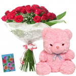 "Magnificent Present - 12 Red Roses + Teddy 6"" + Card"