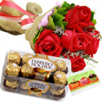 Lovely Arrangement - 12 Red Roses + Ferreo Rocher 16 pcs + Card