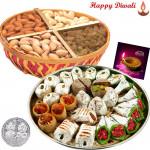 Maha Diwali Hamper - Kaju Mix 250 gms, Assorted Dry fruits 200 gms basket with Laxmi-Ganesha Coin