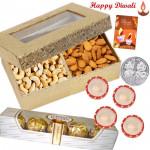 Meva Dry Fruits - Kaju Badam 200 gms, Ferrereo Rocher 4 pcs with 4 Diyas and Laxmi-Ganesha Coin