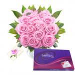 Missing You - 12 Pink Roses in Vase + Cadbury Celebration 128 gms + Card