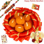 Rakhi Blessings with Ladoo - Kaanpuri Ladoo, Decorative Thali (R), Ganesh Idol with 2 Rakhi and Roli-Chawal