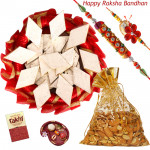 Kaju Katli & Almond Thali - Kaju Katli, Almond 100 gms in Potli, Decorative Thali (R) with 2 Rakhi and Roli-Chawal