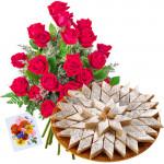 Alluring Hamper - 12 Red Roses + Kaju Barfi 500 gms + Card