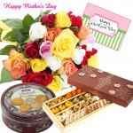 Mix Treat - 20 Mix Roses Bunch, Danish Cookies 454 gms, 500 gms Kaju Mix and Card