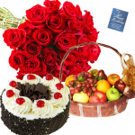 More and More Sweet - 20 Red Roses Bouquet, Black Forest Cake 1/2 Kg, 2 Kg Fruits in Basket and Card