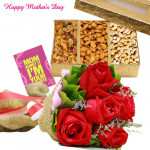 Mothers Day Celebration - 10 Red Roses, 400gm Assorted Dryfruits and Card