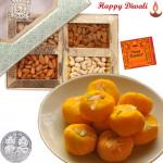 Nice Hamper - Kesar Penda 250 gms, Assorted Dry fruits 200 gms with Laxmi-Ganesha Coin