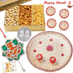 Nuts Puja Thali - Assorted dry fruits 200 gms, Puja Thali (W), Ganesha Door Hanging with 4 Diyas and Laxmi-Ganesha Coin