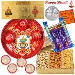 Nuts Thali - Meenakari Thali 6 inch, Assorted Dry Fruits 200 gms, 5 Assorted Bars, 24 Carat Gold Plated Dhan Laxmi Varsha Note with 4 Diyas and Laxmi-Ganesha Coin