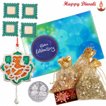 Nutty Chocolaty - 3 Dry Fruit Pouches, Celebrations, Ganesha Door Hanging with 4 Diyas and Laxmi-Ganesha Coin