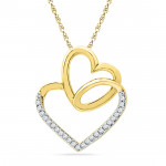 18 Kt Gold Valentines Day Special Heart In Heart Diamond Pendant