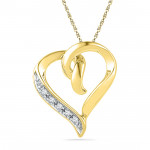 18 Kt Gold Glossy Heart Diamond Pendant