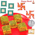 Pavitra Puja Hamper - Swastik Pair, Badam Barfi with 4 Diyas and Laxmi-Ganesha Coin