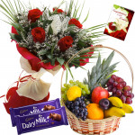 Perfect love Combo - 12 Red Roses Bouquet, 3 Kg Fruits in Basket, 2 Dairy Milk 20 gms Each and Card