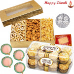 Perfect Present - Ferrero Rocher 16 pcs, Assorted Dryfruits 200 gms with 4 Diyas and Laxmi-Ganesha Coin
