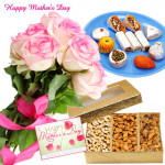 Pink Roses Combo - 12 Pink Roses, Kaju Mix 250 gms, Assorted Dryfruit 200 gms Box and Card