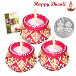 Pot Diya - 3 Pot Shaped Diyas with Laxmi-Ganesha Coin