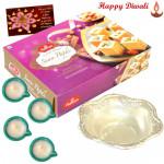 Prasad Patra Hamper - Silver Prasad Patra 22gms, Haldiram Soan Papdi with 4 Diyas