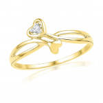 Valentines Day Special Double Heart Diamond Finger Ring