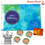Religious Idol - Silver Laxmi Idol 20gms, Celebration with 4 Diyas