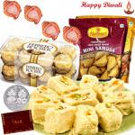 Remarkable Hamper - Haldiram Soan Papdi 1 kg, 2 Haldiram Namkeen, Ferrero Rocher 16 pcs with 4 Diyas and Laxmi-Ganesha Coin