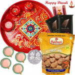 Rich Choco Namkeen - Meenakari Thali, 2 Bournville bars, Haldiram 1 Pack with 4 Diyas and Laxmi-Ganesha Coin