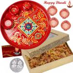 Rich Treat Thali - Raisins 200 gms, Meenakari Thali 6 inch with 4 Diyas and Laxmi-Ganesha Coin