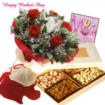 Roses & Dryfruits - 12 Red Roses with 200 gms of Assorted Dry Fruit box and Card